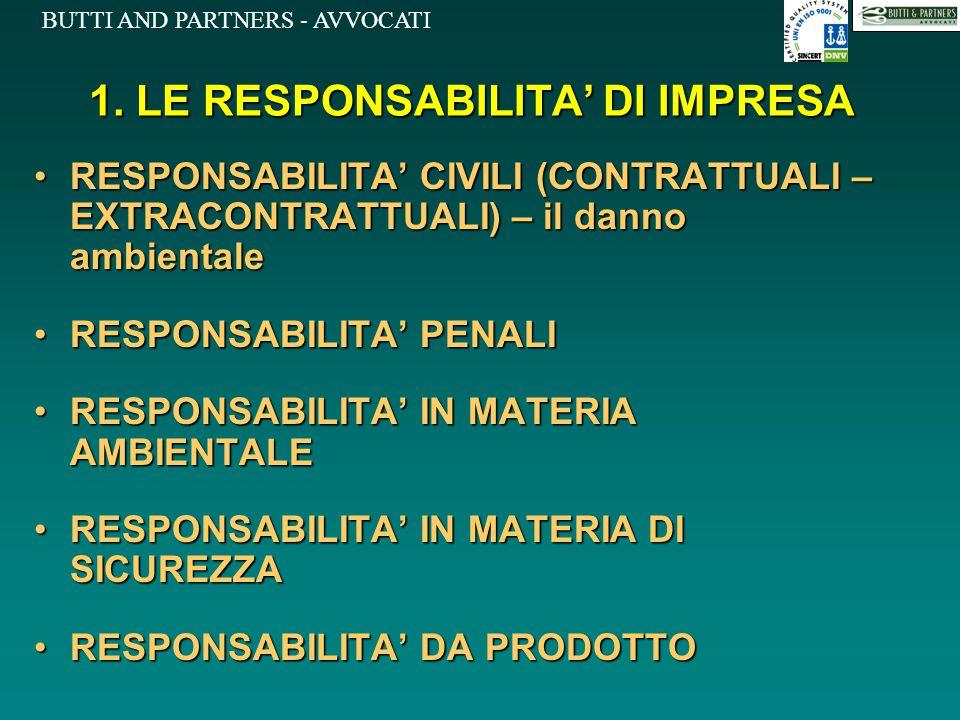 1. LE RESPONSABILITA' DI IMPRESA