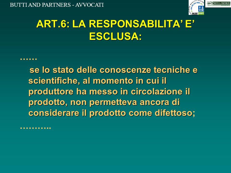 ART.6: LA RESPONSABILITA' E' ESCLUSA: