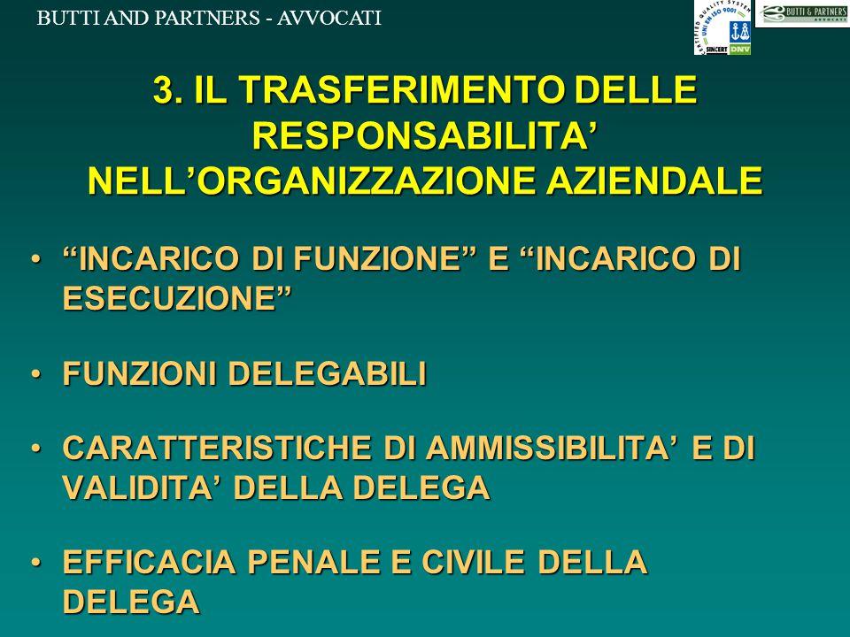 3. IL TRASFERIMENTO DELLE RESPONSABILITA' NELL'ORGANIZZAZIONE AZIENDALE