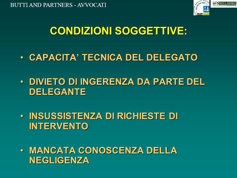 CONDIZIONI SOGGETTIVE: