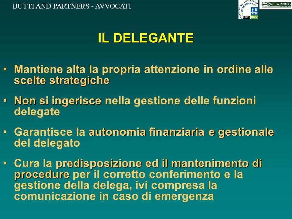 IL DELEGANTE Mantiene alta la propria attenzione in ordine alle scelte strategiche. Non si ingerisce nella gestione delle funzioni delegate.