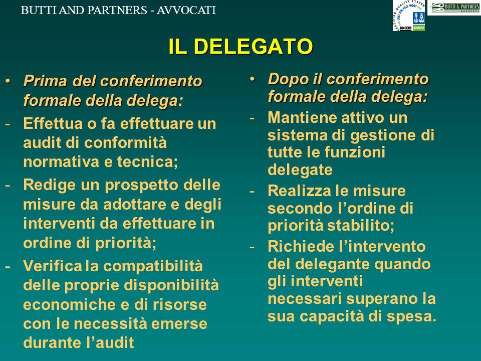 IL DELEGATO Prima del conferimento formale della delega: