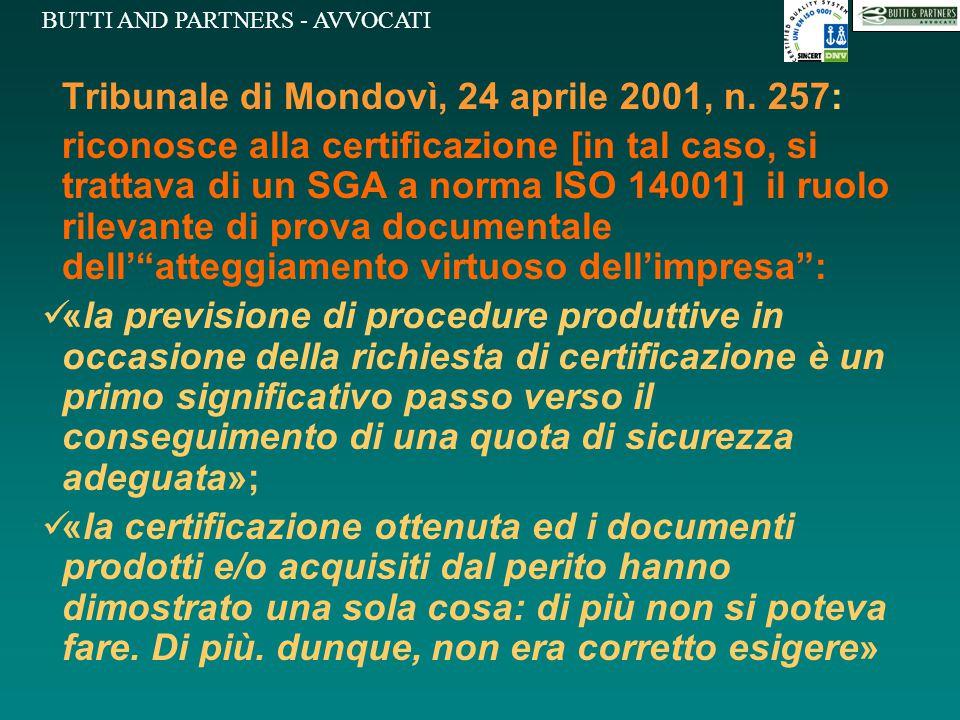 Tribunale di Mondovì, 24 aprile 2001, n. 257: