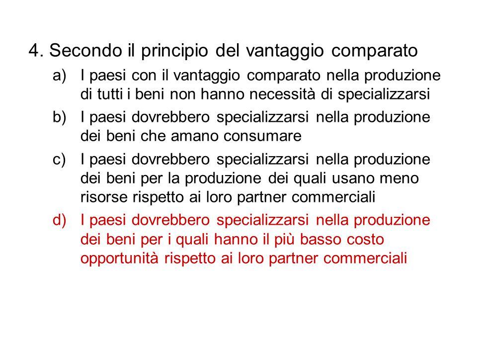 4. Secondo il principio del vantaggio comparato