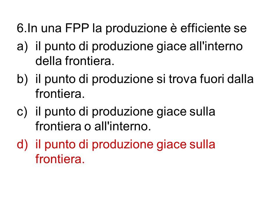 6.In una FPP la produzione è efficiente se