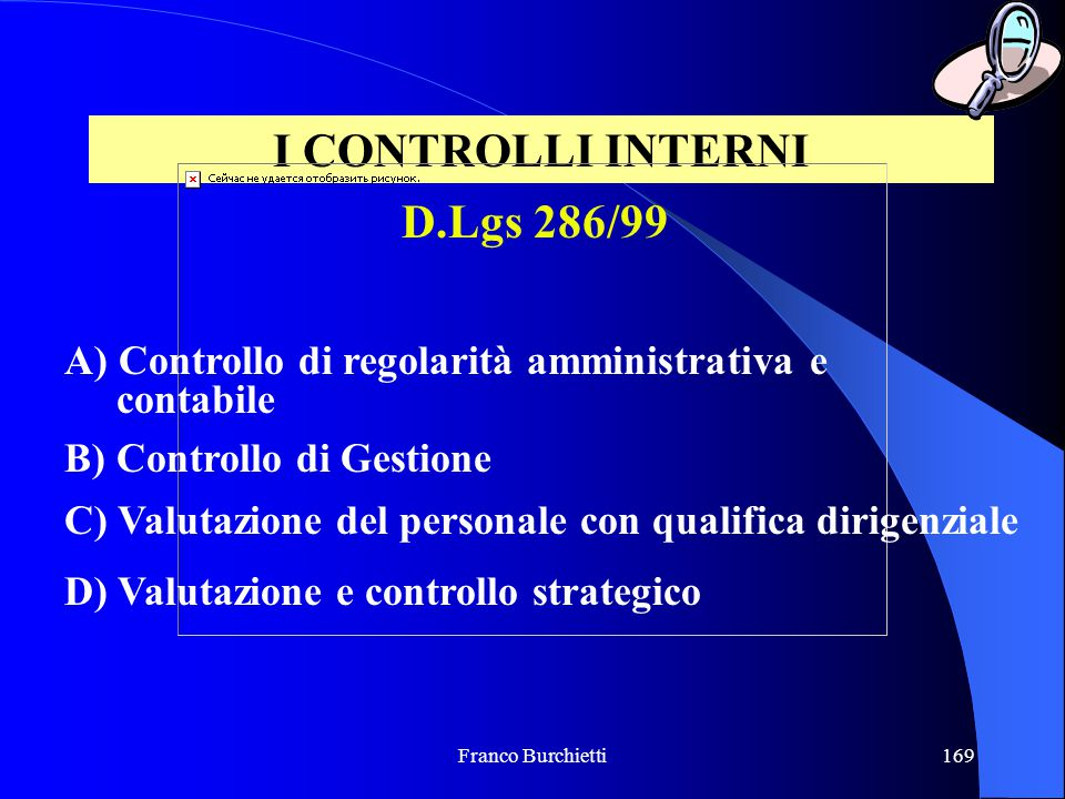 I CONTROLLI INTERNI D.Lgs 286/99