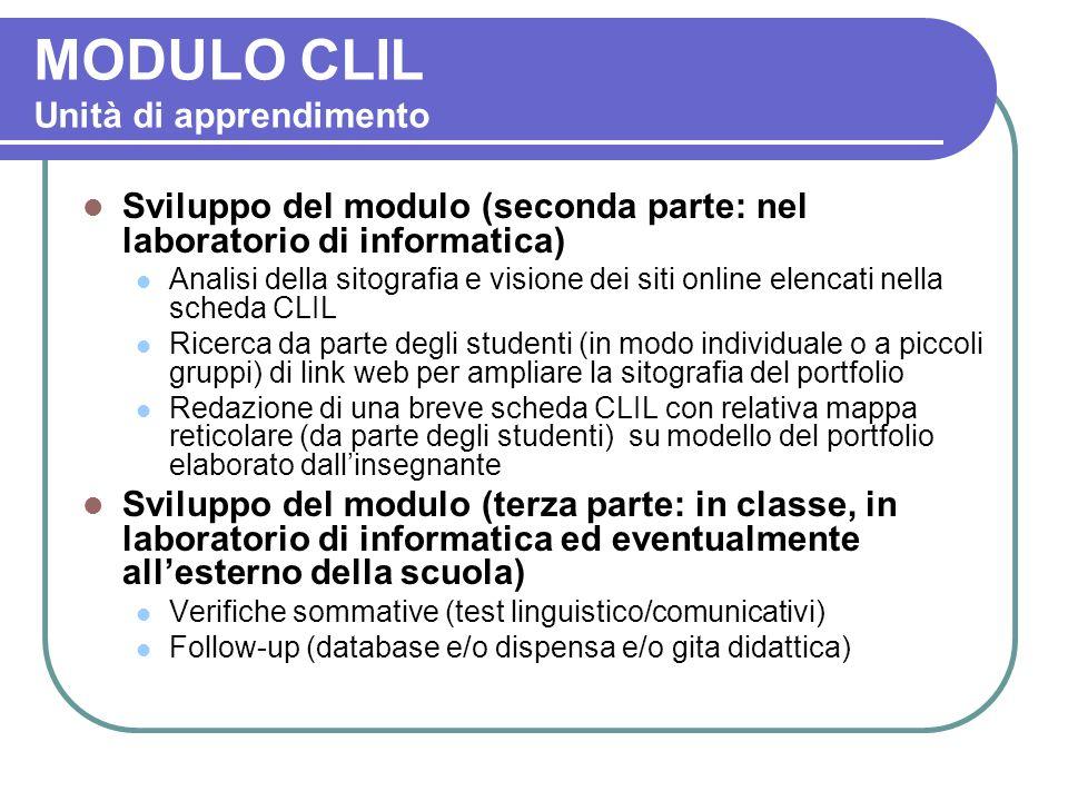 MODULO CLIL Unità di apprendimento