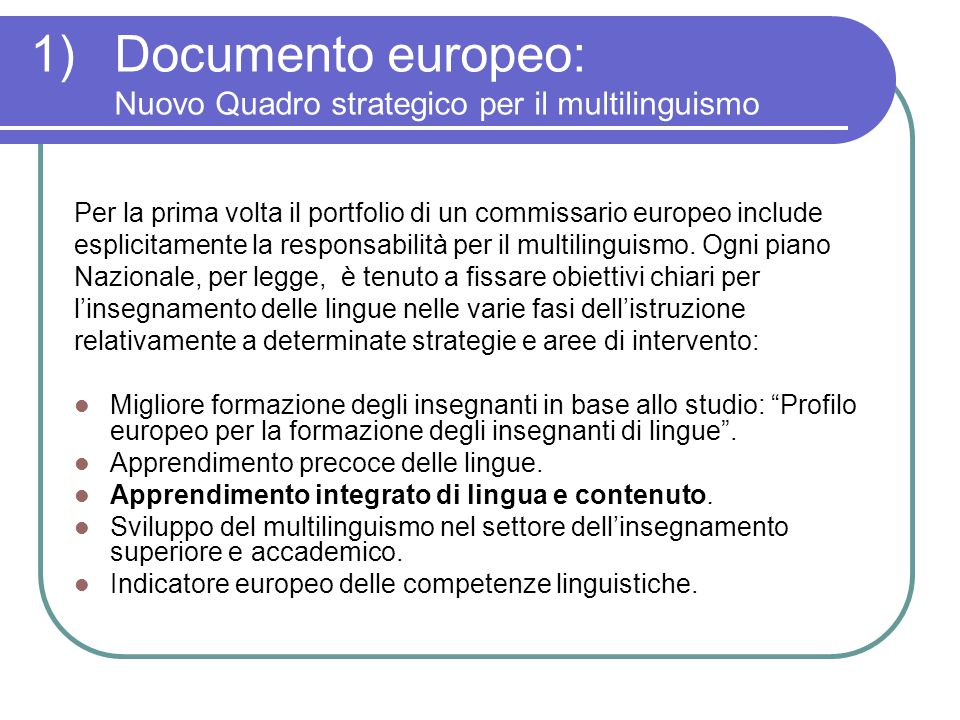 Documento europeo: Nuovo Quadro strategico per il multilinguismo