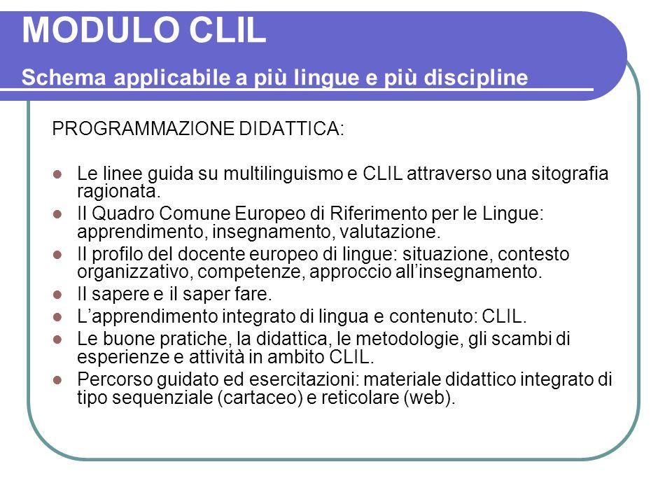 MODULO CLIL Schema applicabile a più lingue e più discipline