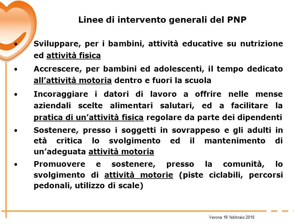 Linee di intervento generali del PNP