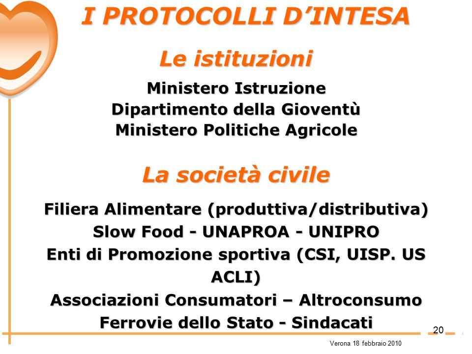 I PROTOCOLLI D'INTESA Le istituzioni La società civile