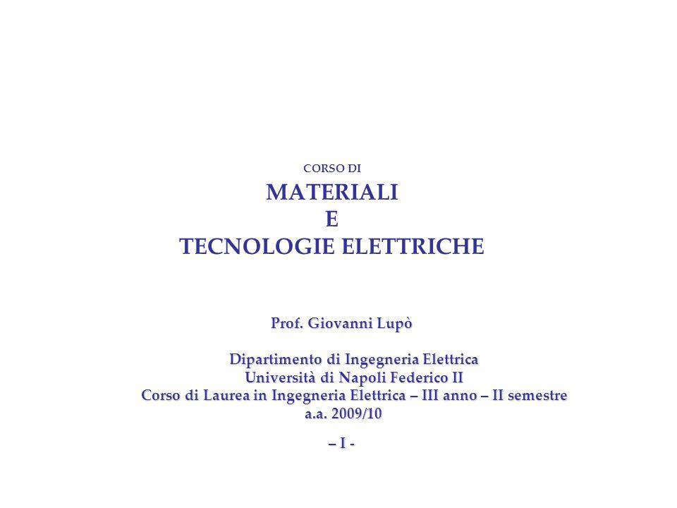 CORSO DI MATERIALI E TECNOLOGIE ELETTRICHE