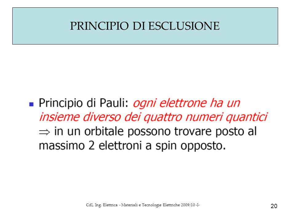PRINCIPIO DI ESCLUSIONE