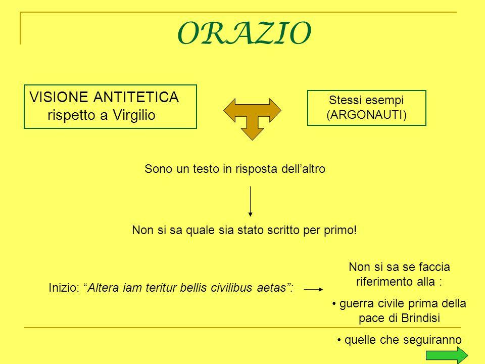 ORAZIO VISIONE ANTITETICA rispetto a Virgilio
