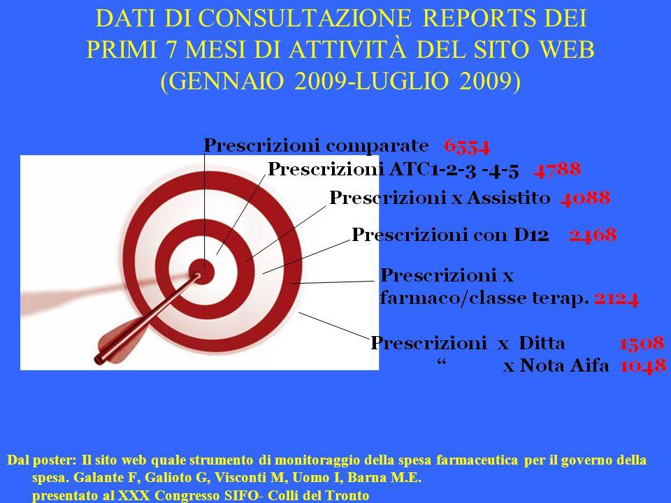 DATI DI CONSULTAZIONE REPORTS DEI PRIMI 7 MESI DI ATTIVITÀ DEL SITO WEB (GENNAIO 2009-LUGLIO 2009)