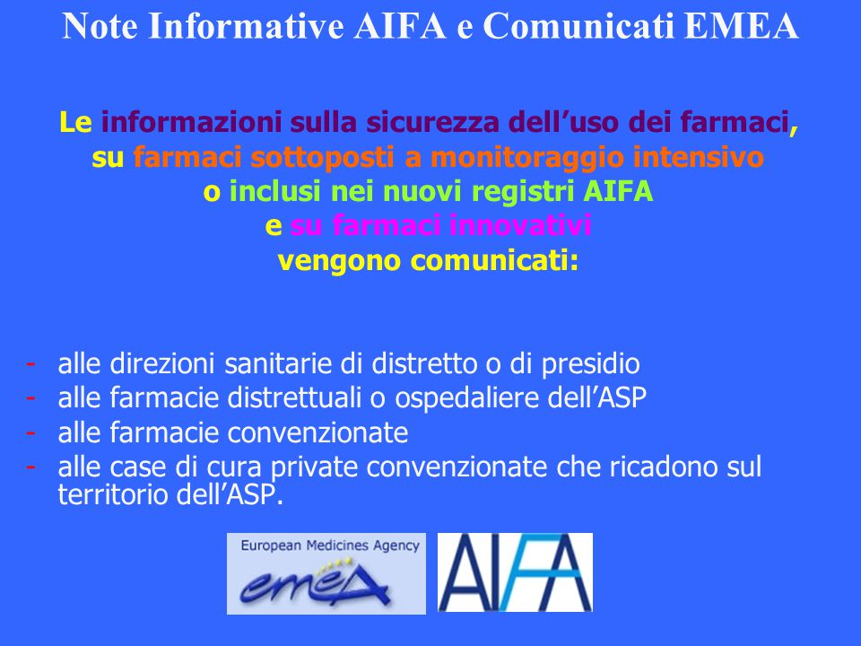 Note Informative AIFA e Comunicati EMEA