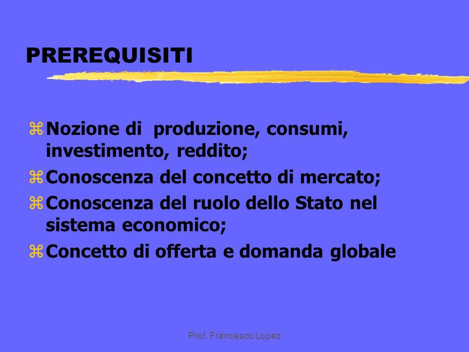 PREREQUISITI Nozione di produzione, consumi, investimento, reddito;