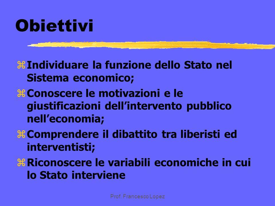 Obiettivi Individuare la funzione dello Stato nel Sistema economico;