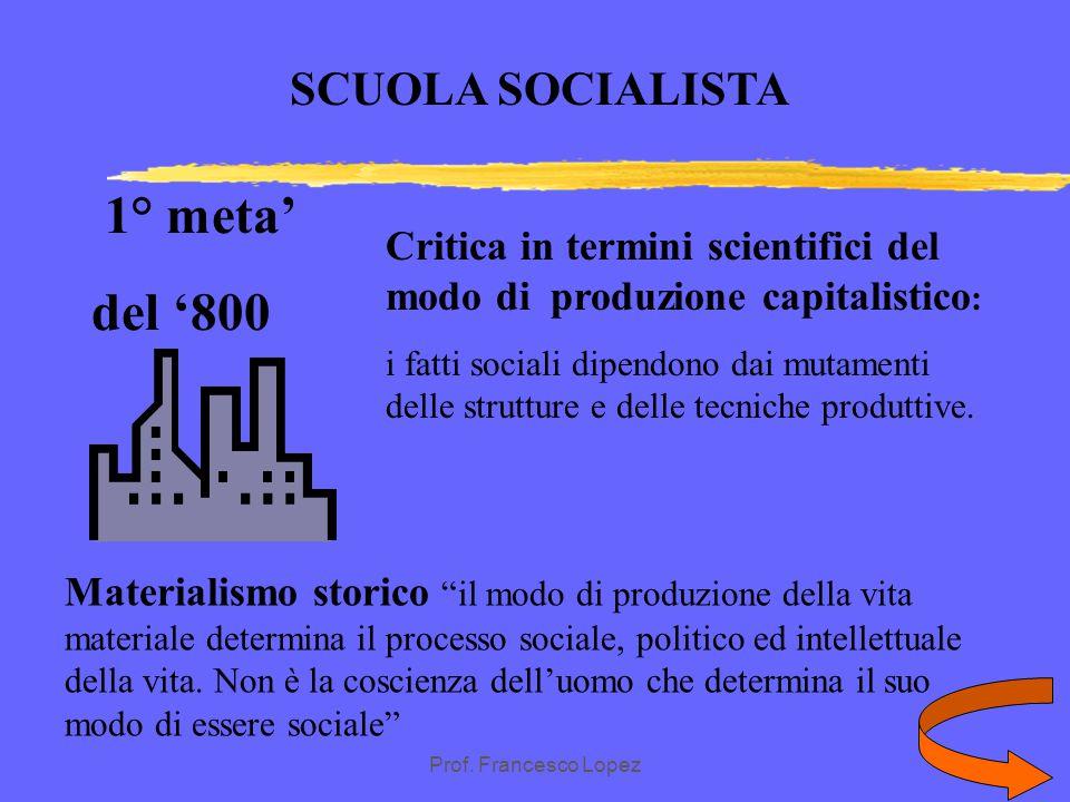 1° meta' del '800 SCUOLA SOCIALISTA