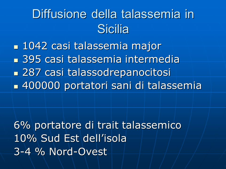 Diffusione della talassemia in Sicilia