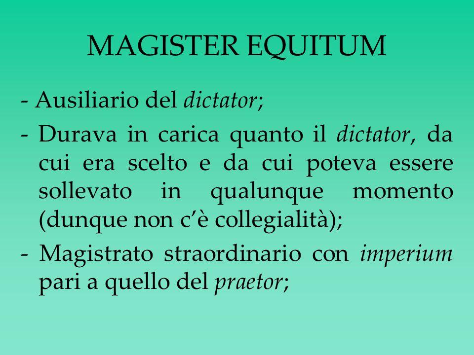 MAGISTER EQUITUM - Ausiliario del dictator;