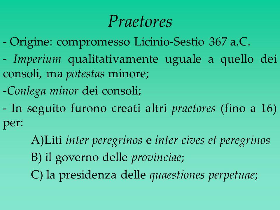 Praetores - Origine: compromesso Licinio-Sestio 367 a.C.