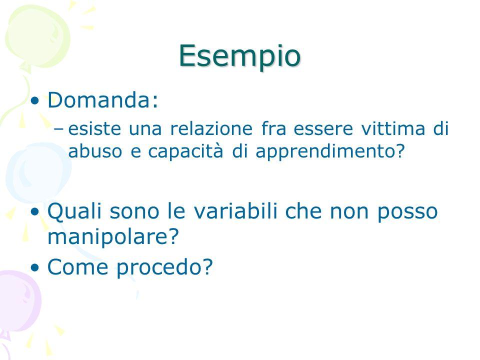 Esempio Domanda: Quali sono le variabili che non posso manipolare