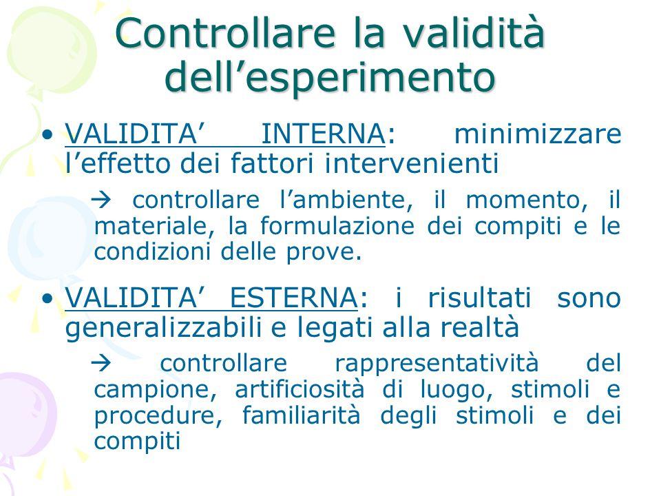 Controllare la validità dell'esperimento