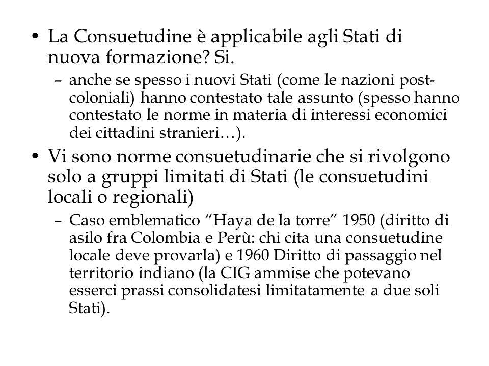 La Consuetudine è applicabile agli Stati di nuova formazione Si.