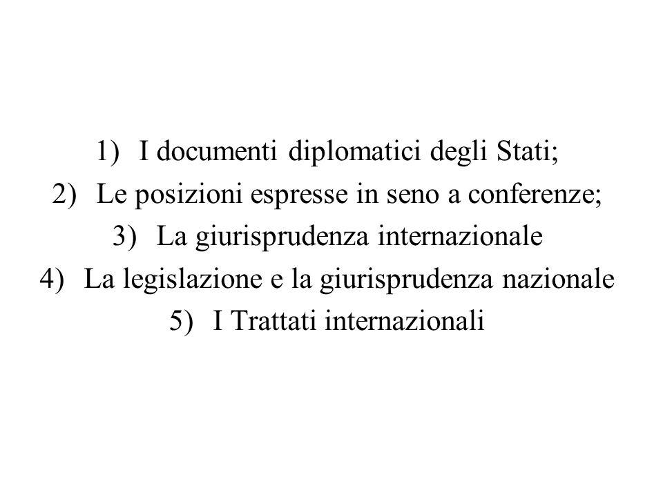 I documenti diplomatici degli Stati;