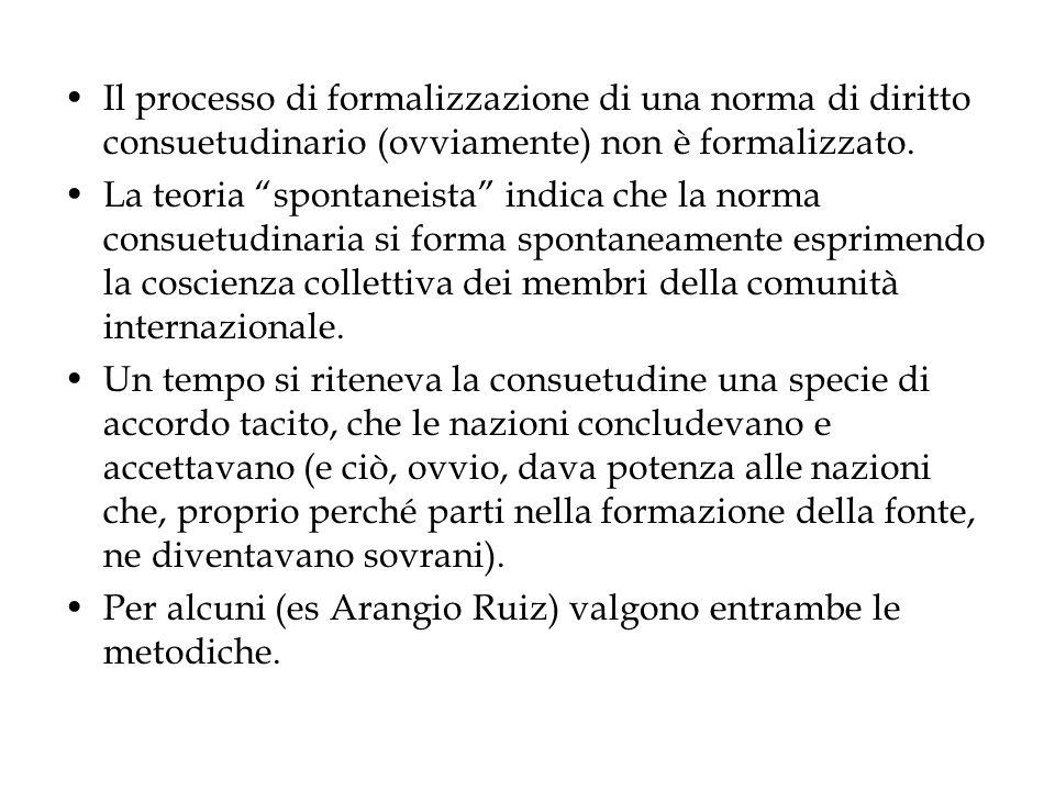 Il processo di formalizzazione di una norma di diritto consuetudinario (ovviamente) non è formalizzato.
