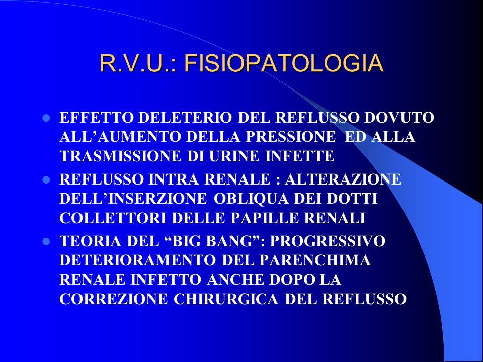 R.V.U.: FISIOPATOLOGIA EFFETTO DELETERIO DEL REFLUSSO DOVUTO ALL'AUMENTO DELLA PRESSIONE ED ALLA TRASMISSIONE DI URINE INFETTE.