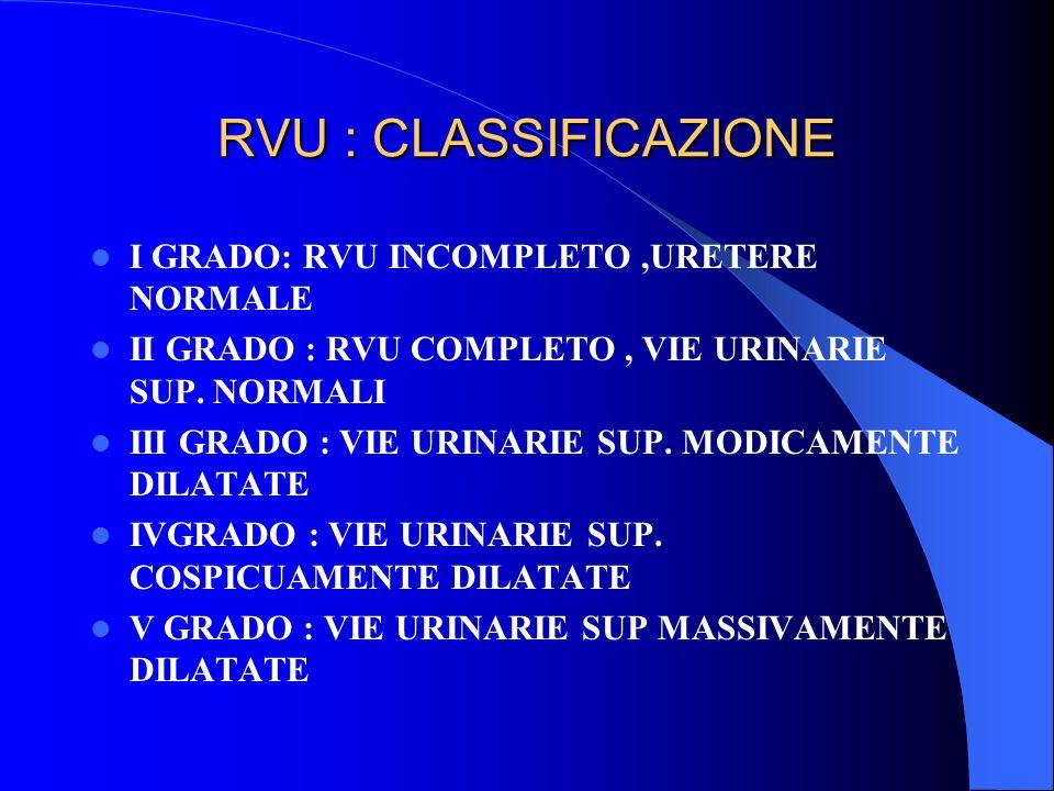 RVU : CLASSIFICAZIONE I GRADO: RVU INCOMPLETO ,URETERE NORMALE