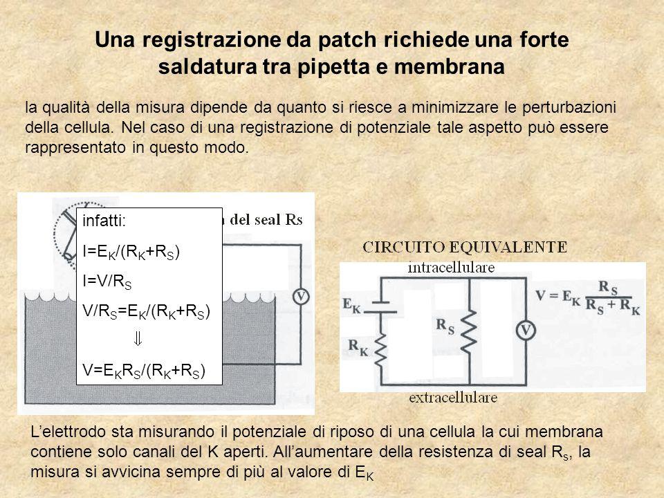 Una registrazione da patch richiede una forte saldatura tra pipetta e membrana