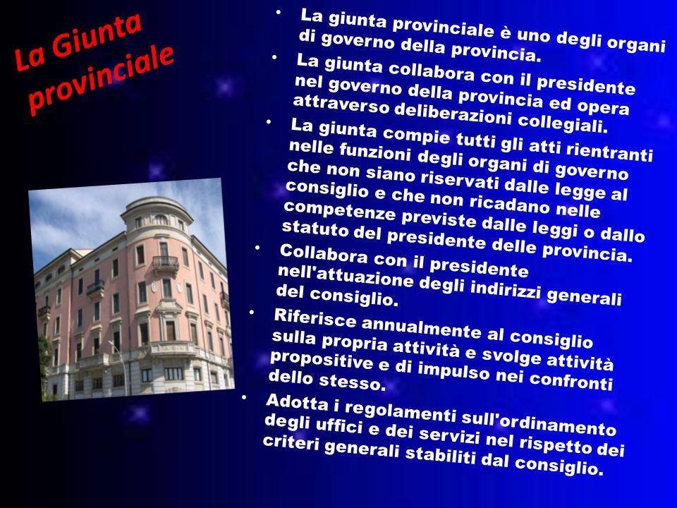La Giunta provinciale La giunta provinciale è uno degli organi di governo della provincia.