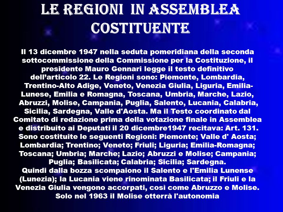 Le regioni in Assemblea Costituente