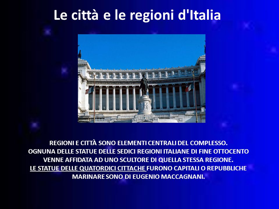 Le città e le regioni d Italia