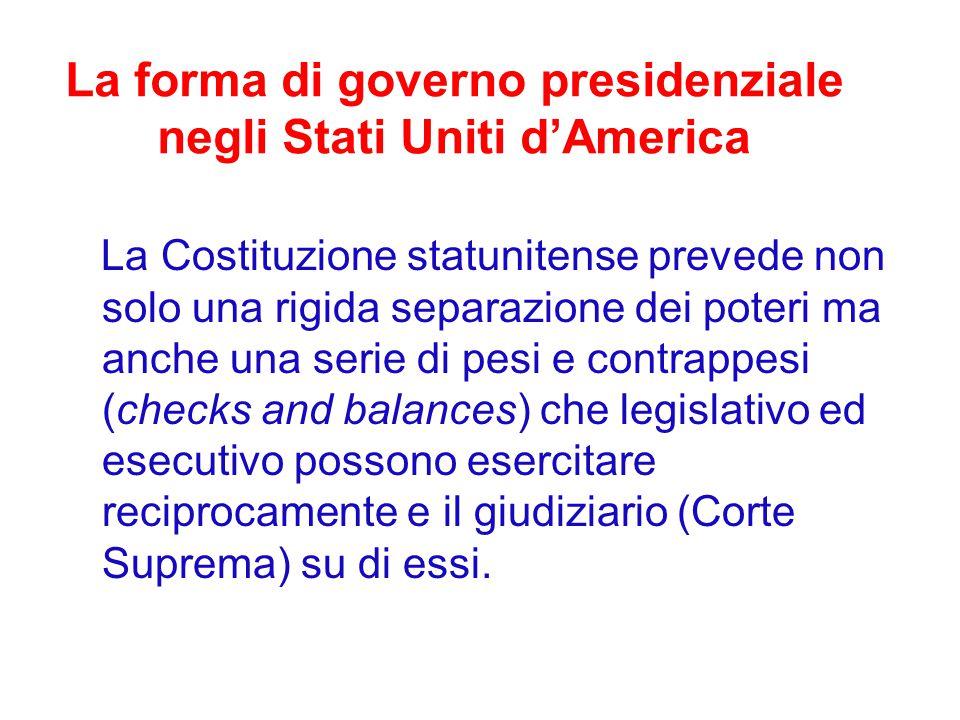 La forma di governo presidenziale negli Stati Uniti d'America