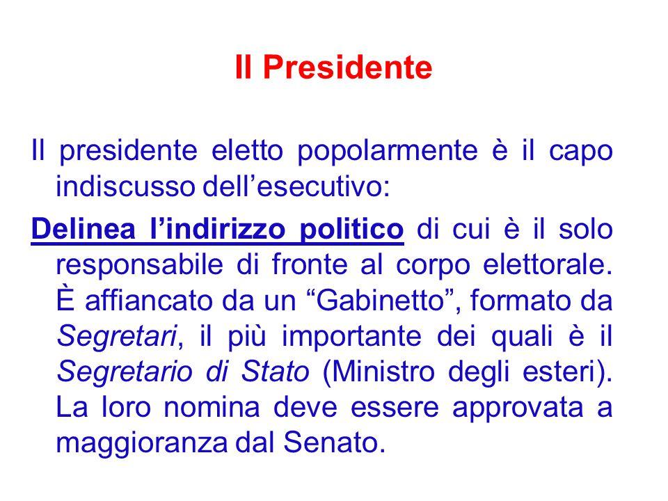Il Presidente Il presidente eletto popolarmente è il capo indiscusso dell'esecutivo: