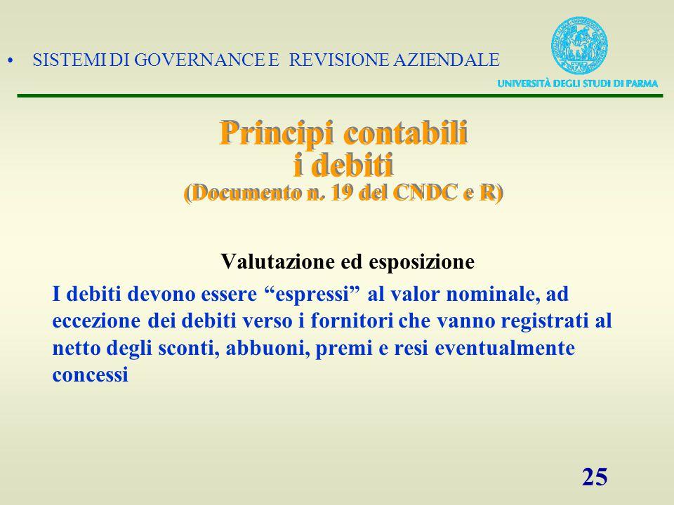 Principi contabili i debiti (Documento n. 19 del CNDC e R)