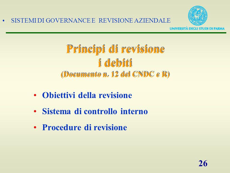 Principi di revisione i debiti (Documento n. 12 del CNDC e R)