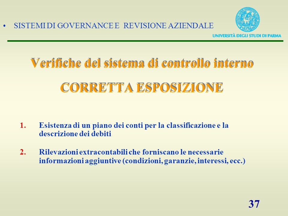 Verifiche del sistema di controllo interno CORRETTA ESPOSIZIONE
