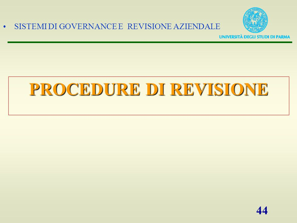PROCEDURE DI REVISIONE