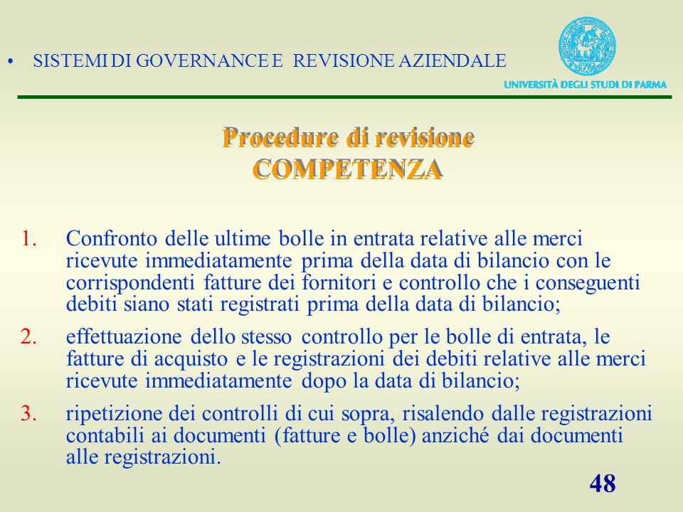 Procedure di revisione COMPETENZA