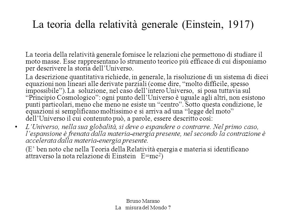 La teoria della relatività generale (Einstein, 1917)