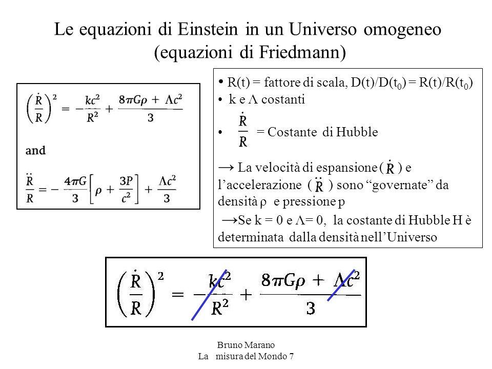 Le equazioni di Einstein in un Universo omogeneo