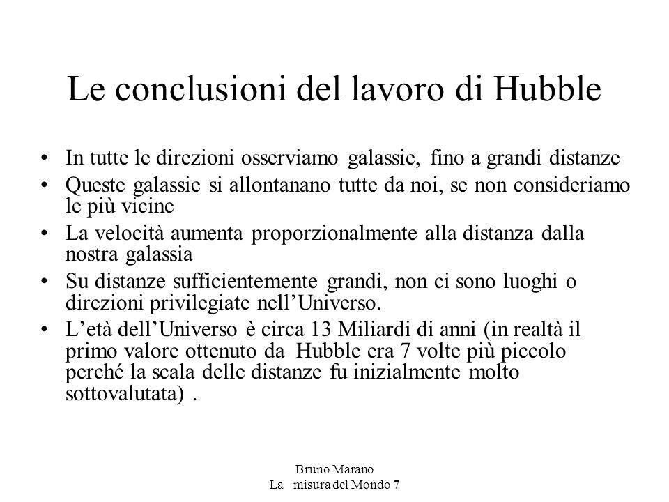 Le conclusioni del lavoro di Hubble