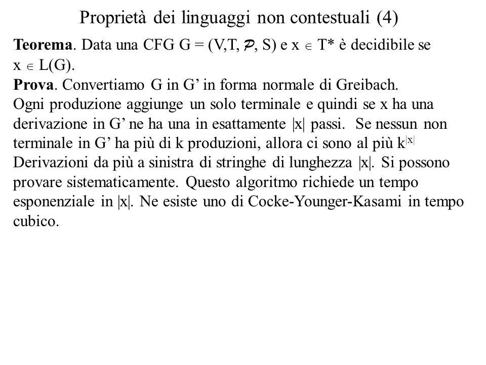 Proprietà dei linguaggi non contestuali (4)
