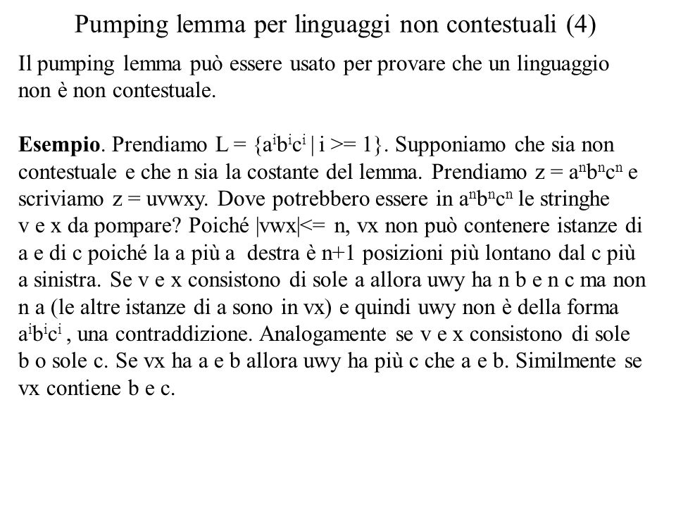 Pumping lemma per linguaggi non contestuali (4)