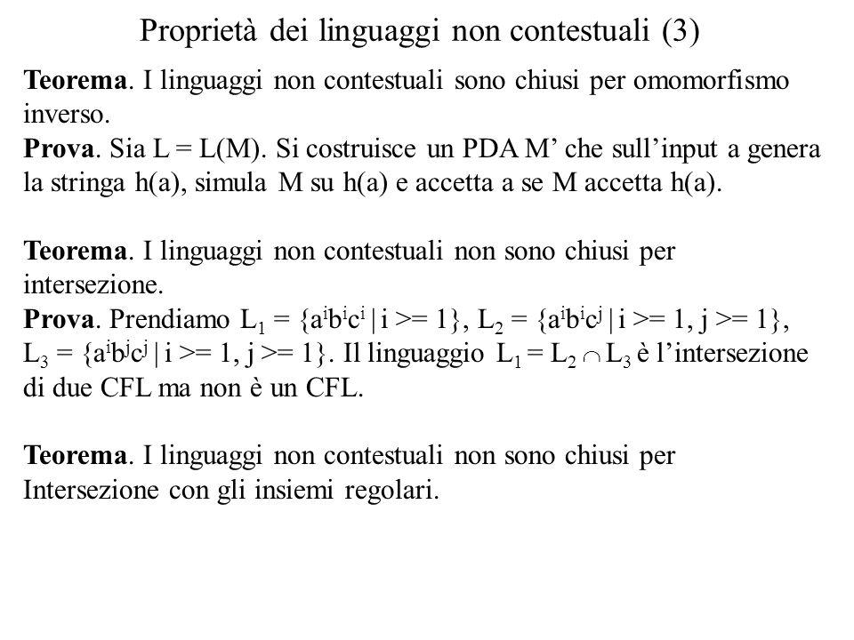 Proprietà dei linguaggi non contestuali (3)